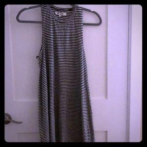 RipCurl black and white striped, beach dress.